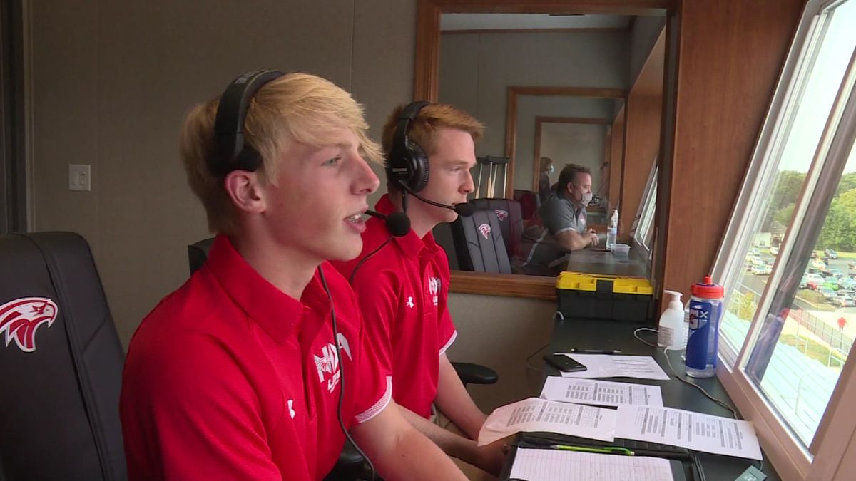 Nixa students broadcasting the Eagles game Friday night against Republic.