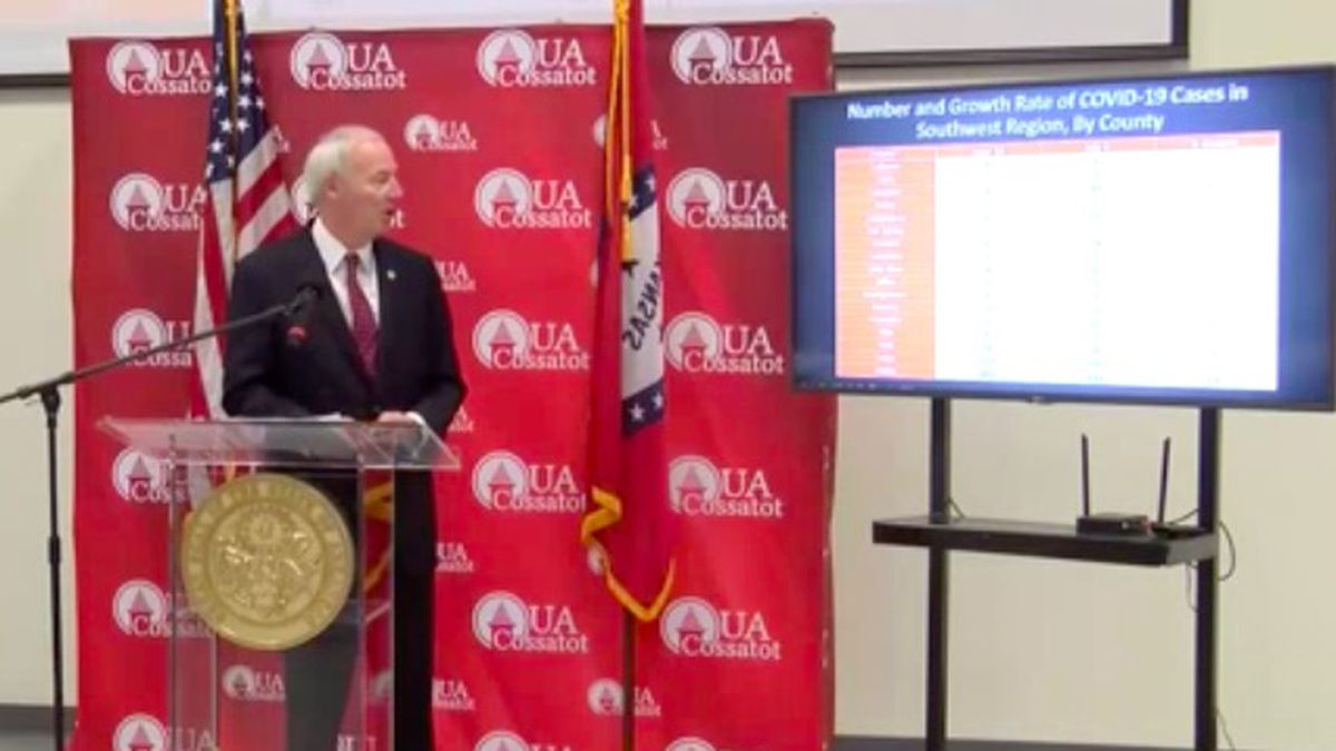 Governor Asa Hutchinson briefed the state Friday from DeQueen.