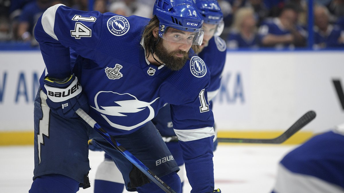 FILE - Tampa Bay Lightning left wing Pat Maroon (14) sets up during the first period of Game 2...
