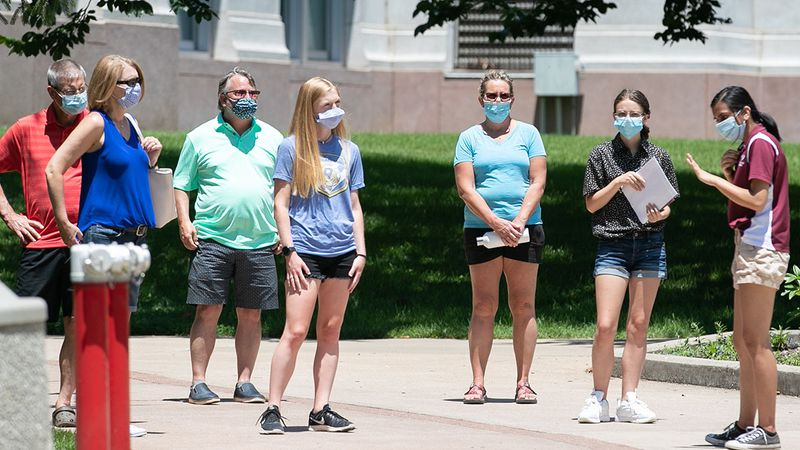 Prospective students with parents get a tour of campus during a epidemic/COVID-19. Photos by...