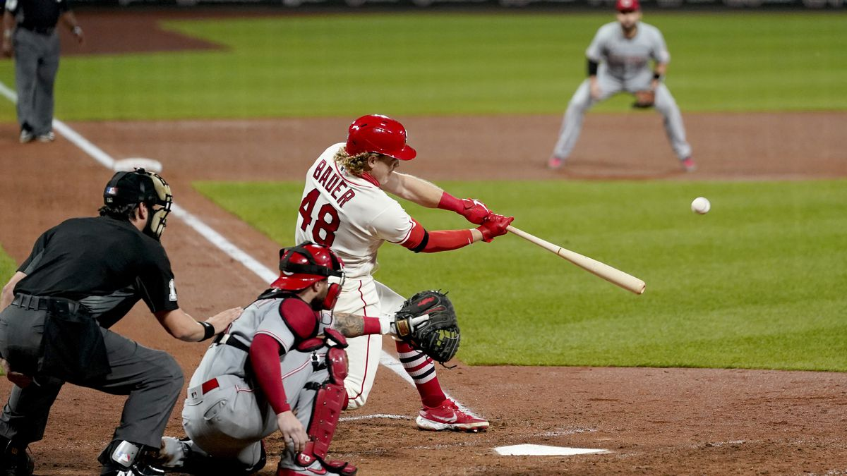 St. Louis Cardinals' Harrison Bader (48) hits a three-run home run during the sixth inning of a baseball game against the Cincinnati Reds Saturday, Sept. 12, 2020, in St. Louis. (AP Photo/Jeff Roberson)