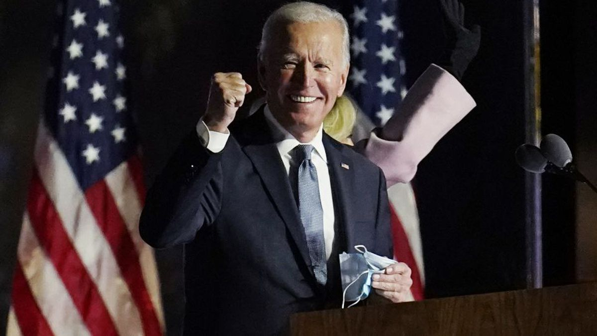 Democratic presidential candidate former Vice President Joe Biden speaks to supporters, early...