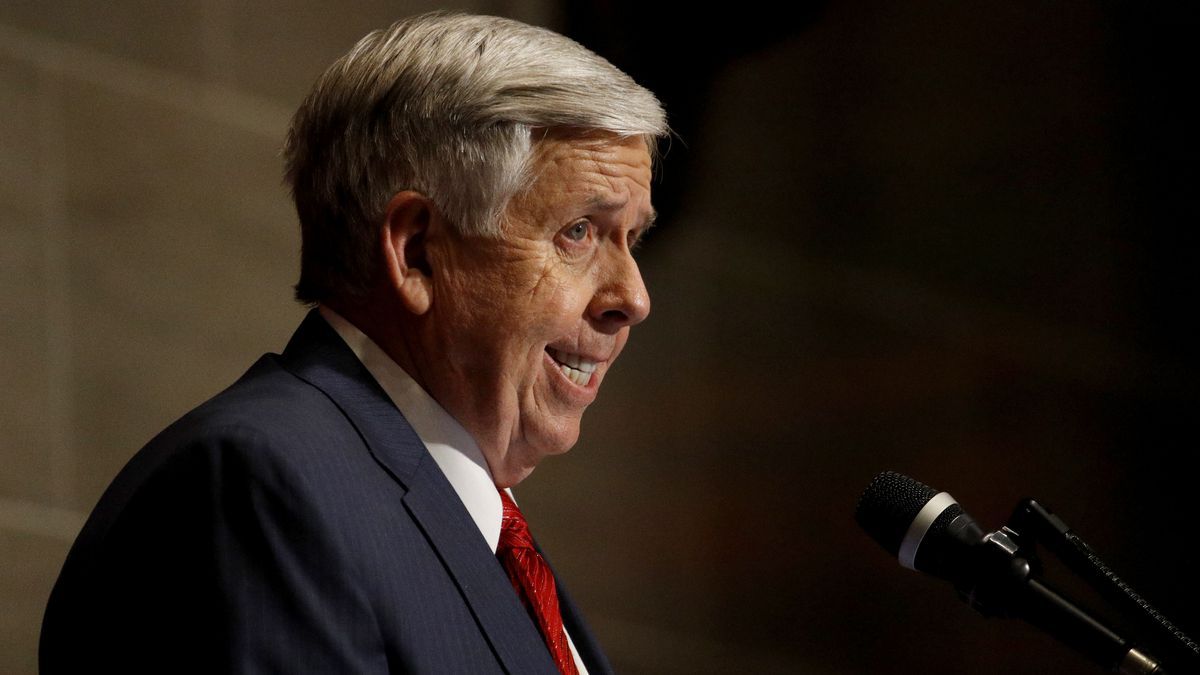 Missouri Gov. Mike Parson delivers his State of the State address Wednesday, Jan. 16, 2019, in Jefferson City, Mo. (AP Photo/Charlie Riedel)