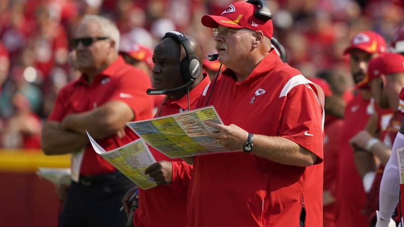 Kansas City Chiefs head coach Andy Reid watches from the sidelines during the first half of an...