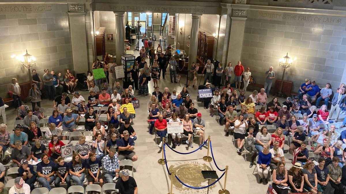 Missouri opponents rally Wednesday, Sept. 15, 2021, in the Capitol rotunda in Jefferson City,...