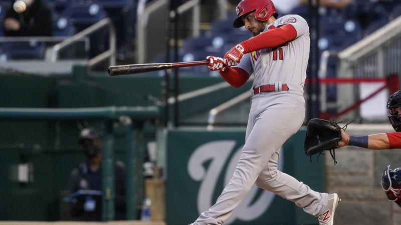 St Louis Cardinals' Paul DeJong hits a solo home run during the second inning of a baseball...