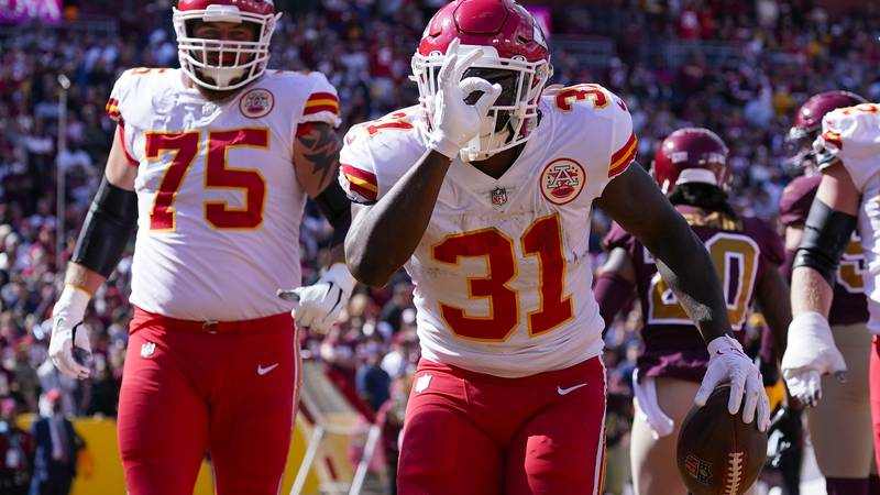 Kansas City Chiefs running back Darrel Williams (31) celebrating his touchdown against the...
