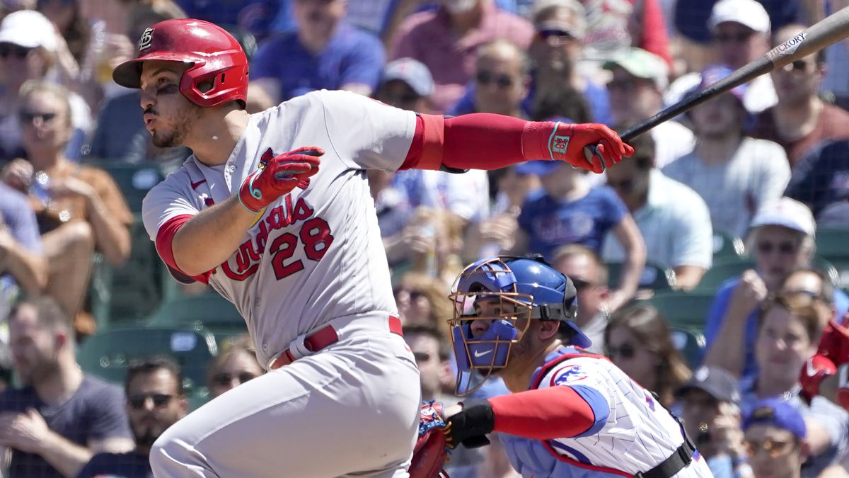 St. Louis Cardinals' Nolan Arenado hits a two-run single during the fifth inning of a baseball...