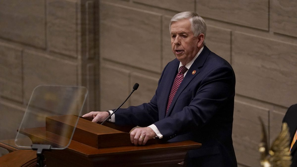 Missouri Gov. Mike Parson delivers the State of the State address Wednesday, Jan. 27, 2021, in...