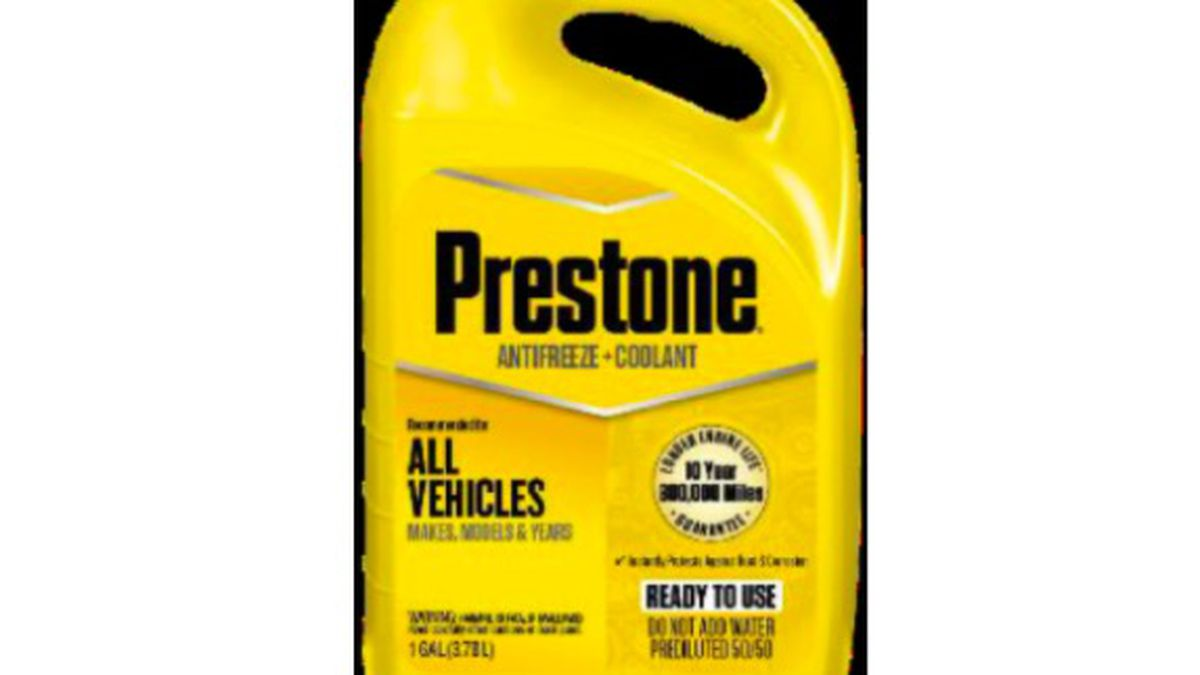 This recall involves 14 different models of pre-diluted or concentrated antifreeze sold under six different brand names