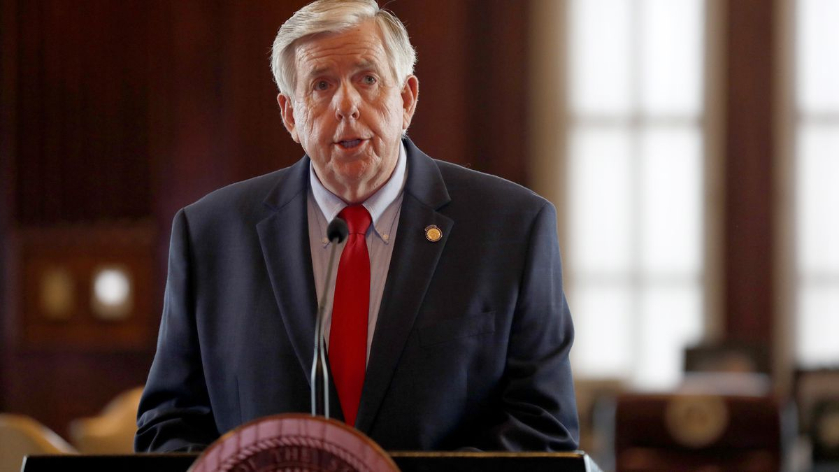 Missouri Gov. Mike Parson conducts his daily coronavirus briefing from the doorway of his office inside the state Capitol Monday, April 27, 2020, in Jefferson City, Mo. Parson announced he will lift some restrictions put in place to slow the spread of COVID-19 and allow the reopening of some businesses and other activities starting on May 4. (AP Photo/Jeff Roberson)