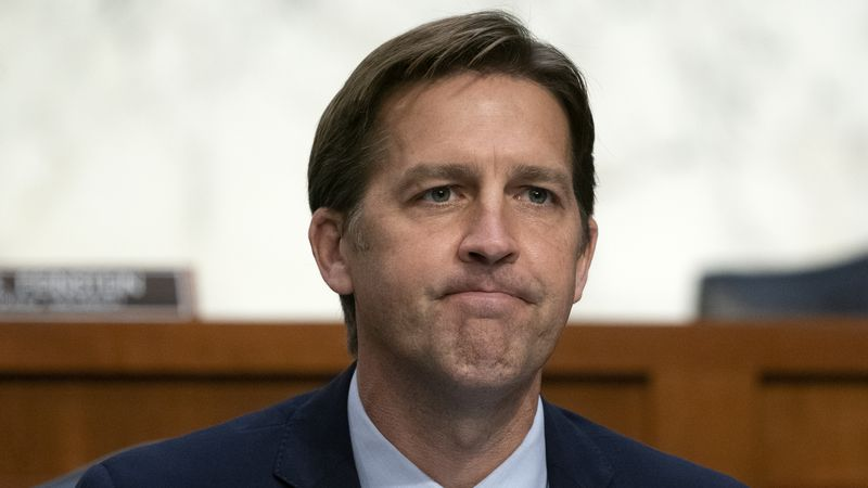 FILE - In this Oct. 14, 2020, file photo Sen. Ben Sasse, R-Neb., questions Supreme Court...