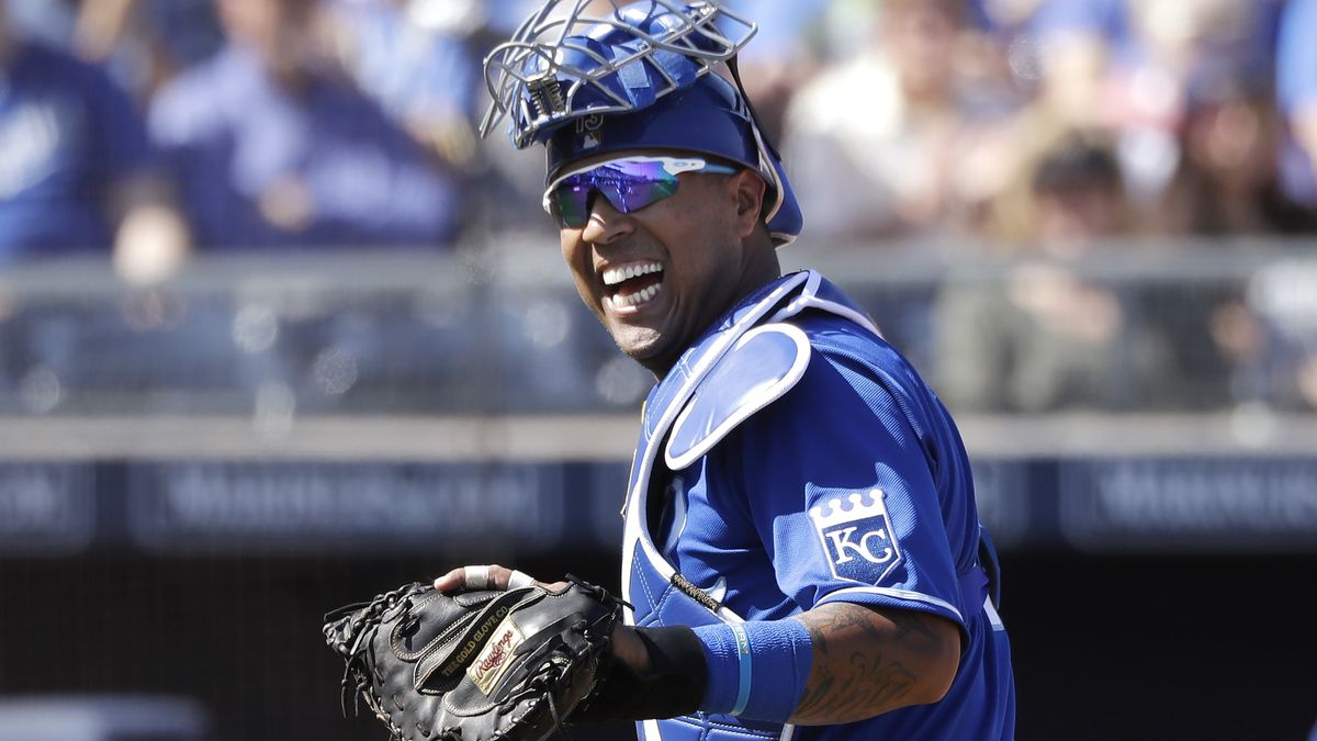 FILE - In this Wednesday, March 4, 2020, file photo, Kansas City Royals catcher Salvador Perez...