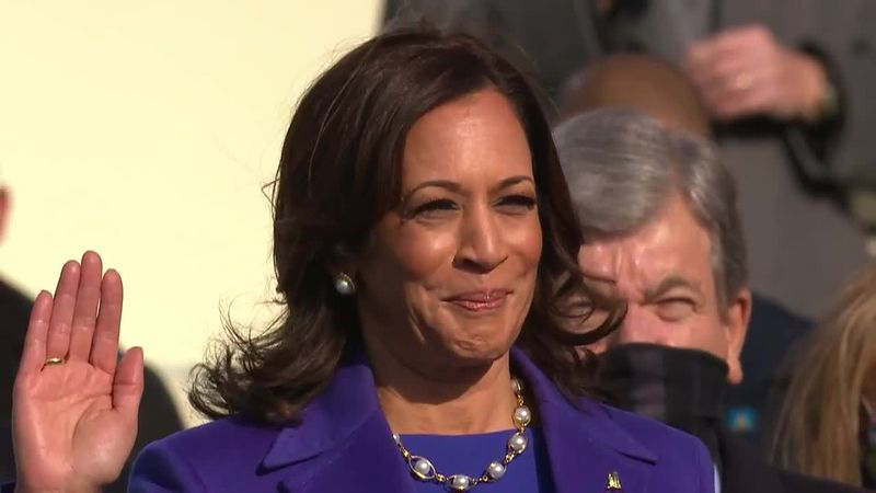 Vice President Kamala Harris is sworn in on Jan. 20, 2020. (Source: POOL via CNN Newsource)