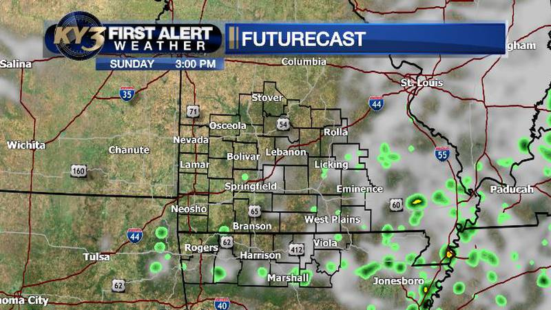 Watch for isolated showers this afternoon for areas south of I-44