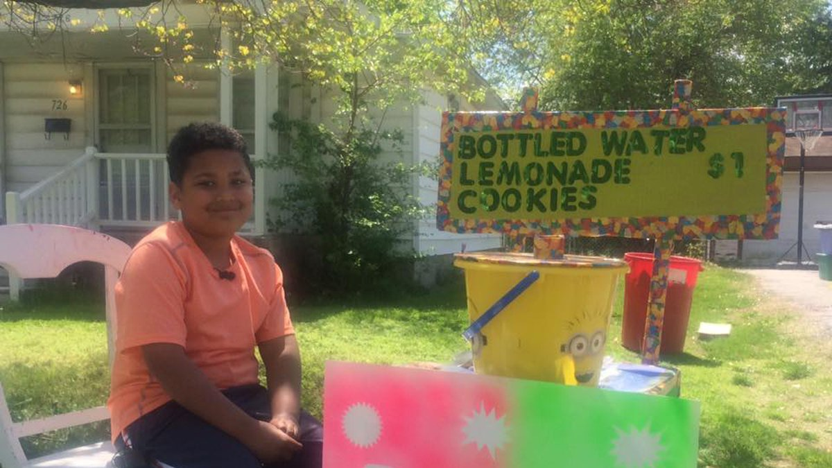 This nine-year-old is selling lemonade to raise money for his adoption.
