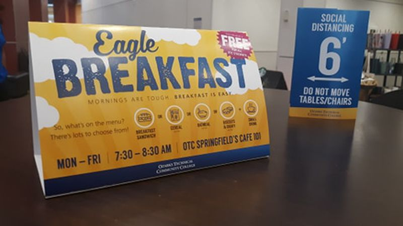 OTC is giving out free breakfast to all students for the spring 2021 semester.