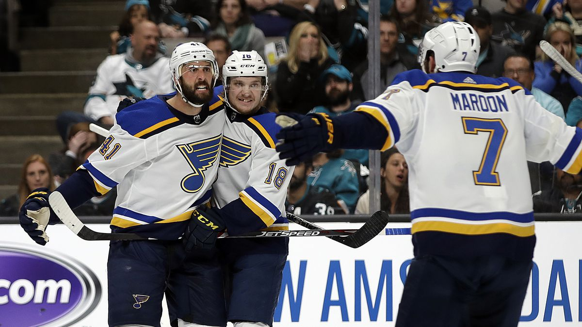 St. Louis Blues' Robert Bortuzzo, left, celebrates with teammates Robert Thomas (18) and Pat Maroon (7) after scoring a goal against the San Jose Sharks in the second period in Game 2 of the NHL hockey Stanley Cup Western Conference finals Monday, May 13, 2019, in San Jose, Calif. (AP Photo/Ben Margot)