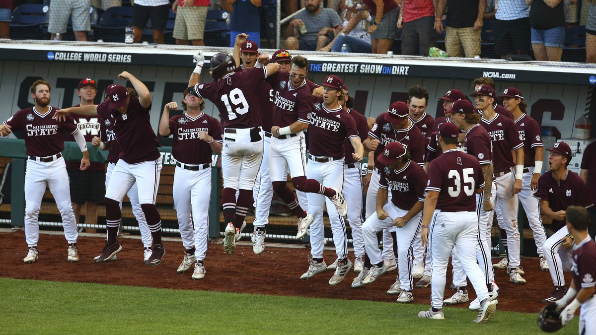 Mississippi State catcher Logan Tanner (19) celebrates after hitting a home run during the...