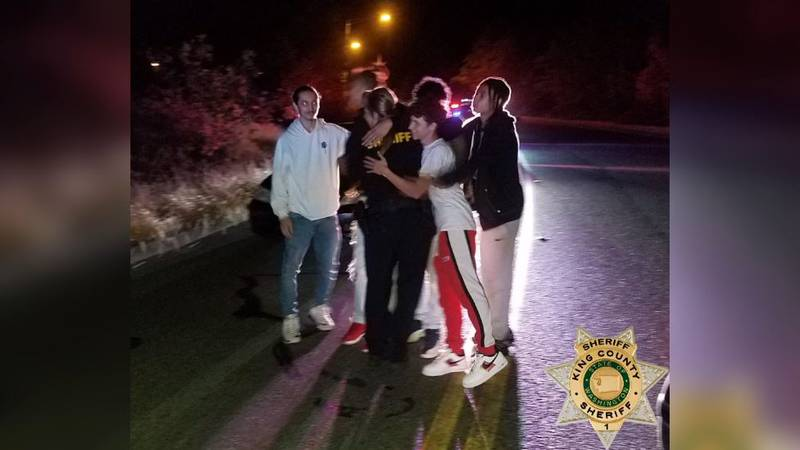 The sheriff's office says this photo was taken a few minutes after the young men helped save...