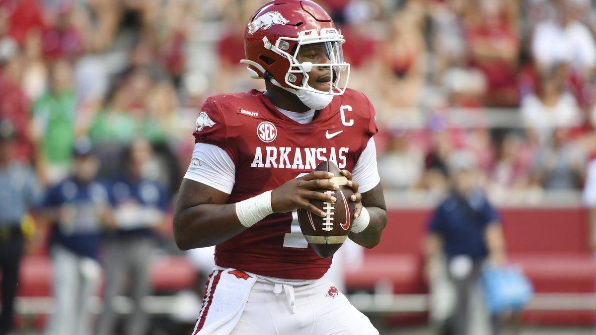 Arkansas quarterback KJ Jefferson (1) drops back to pass against Georgia Southern during the...
