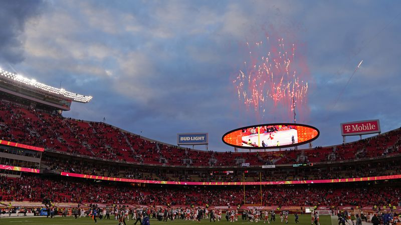 Fireworks are seen over Arrowhead Stadium after an NFL divisional round football game between...