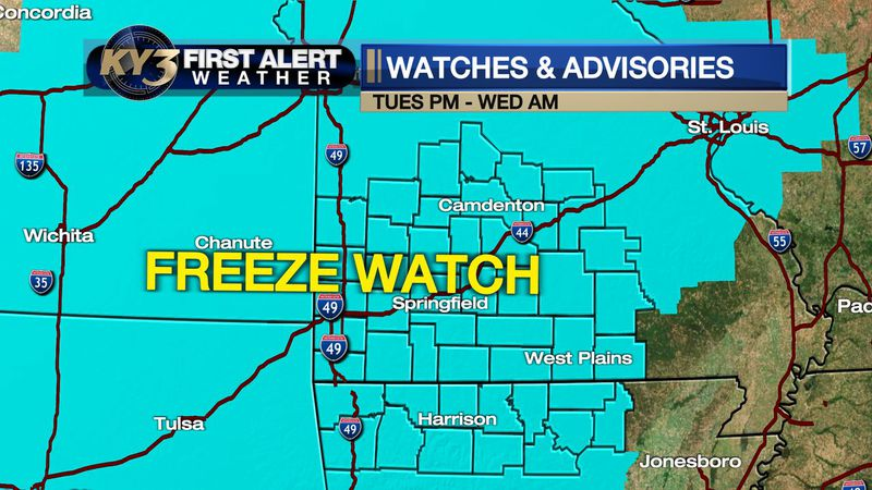 The KY3 Weather Team is following a Freeze Watch and the potential for snow in the Ozarks...