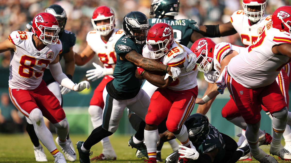 Kansas City Chiefs running back Clyde Edwards-Helaire (25) is tackled by Philadelphia Eagles...