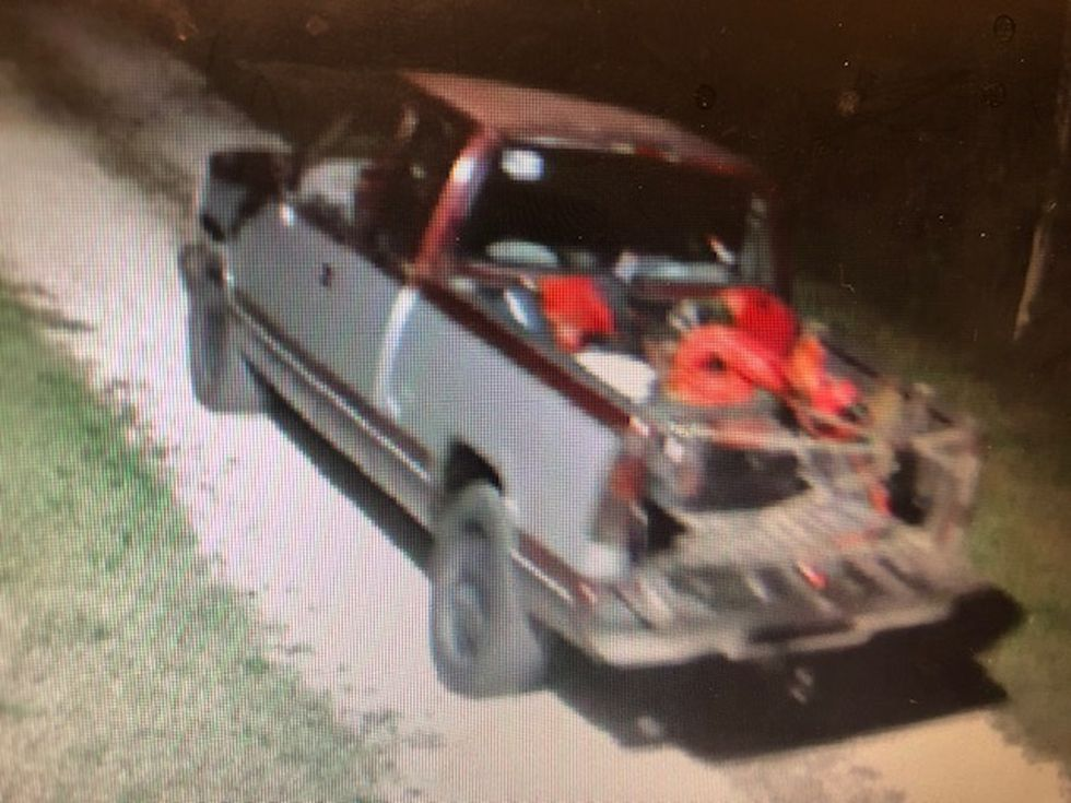 GCSO deputies are looking for an older model gray and maroon Chevy pickup.