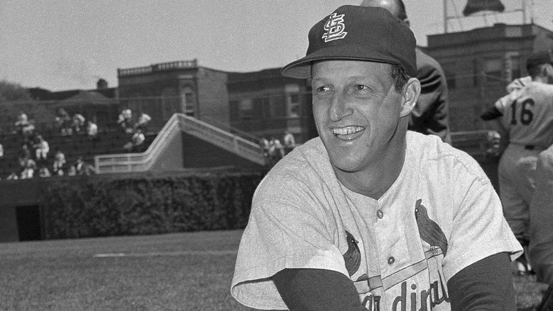 FILE - In this May 13, 1958 file photo, Stan Musial, St. Louis Cardinal all-time great baseball...
