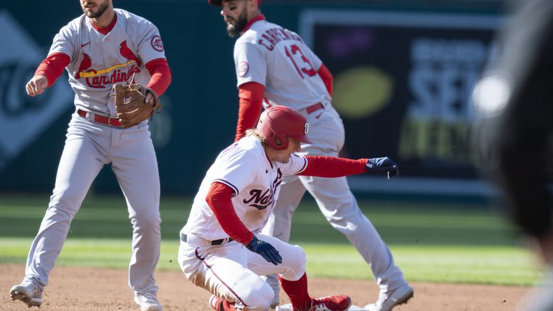 Washington Nationals Andrew Stevenson (17) is out at second as St. Louis Cardinals shortstop...