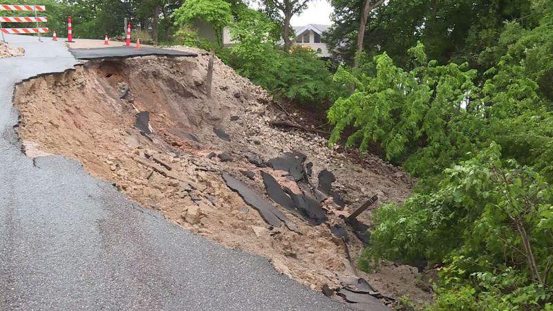 Camden County, Mo. road washes away near home