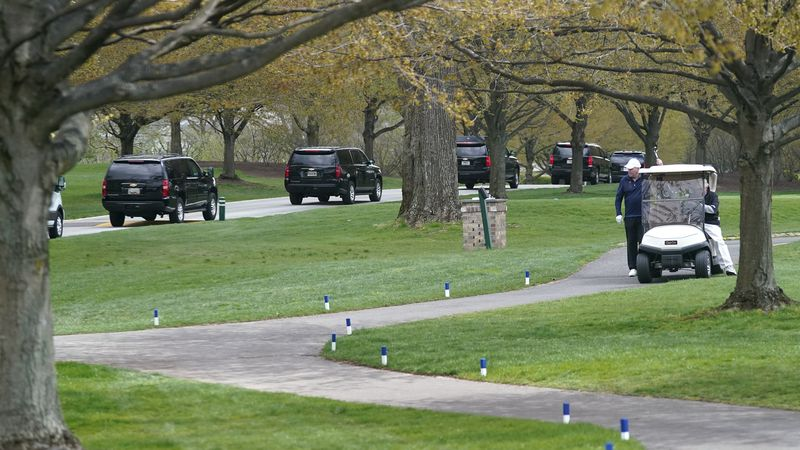 President Joe Biden's motorcade arrives at Wilmington Country Club, Saturday, April 17, 2021,...