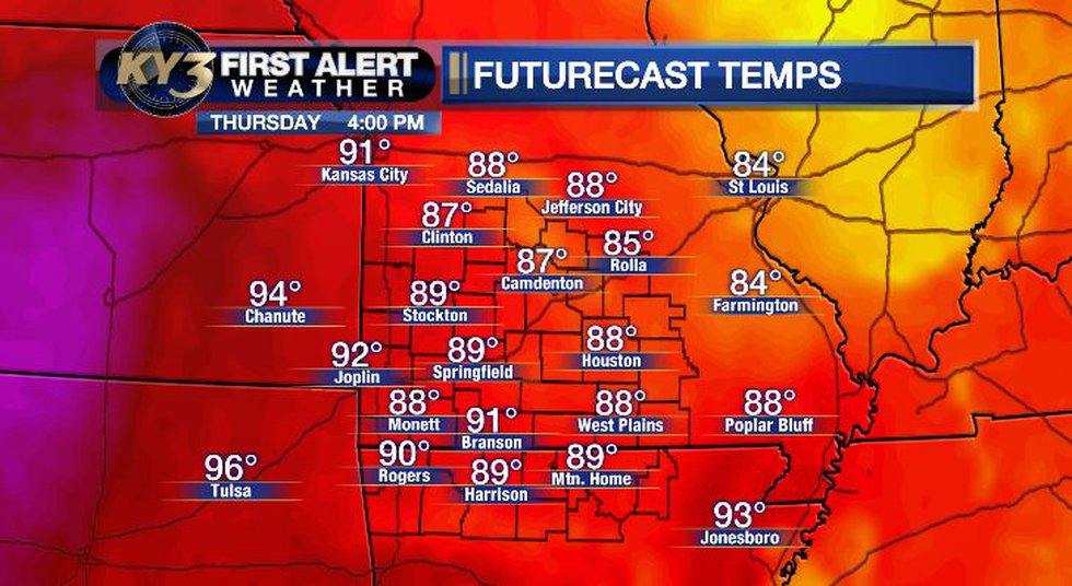Here are the forecast temperatures for Thursday