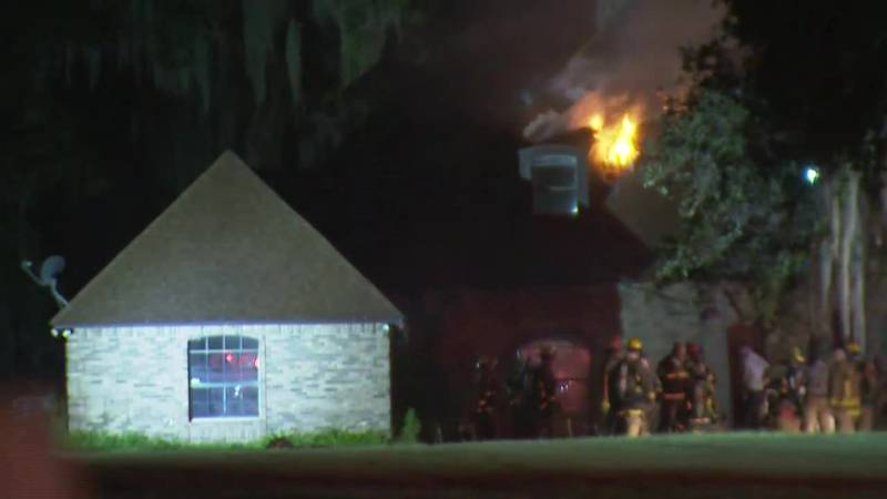 Fire officials believe a lightning strike led to the fire, which burned through the roof.