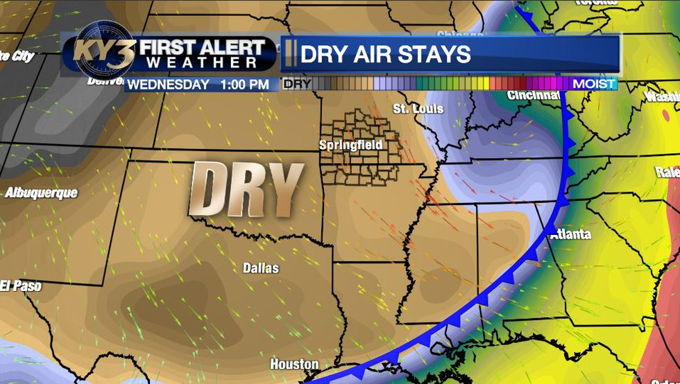 Drier air is in place so we'll see little cloud cover