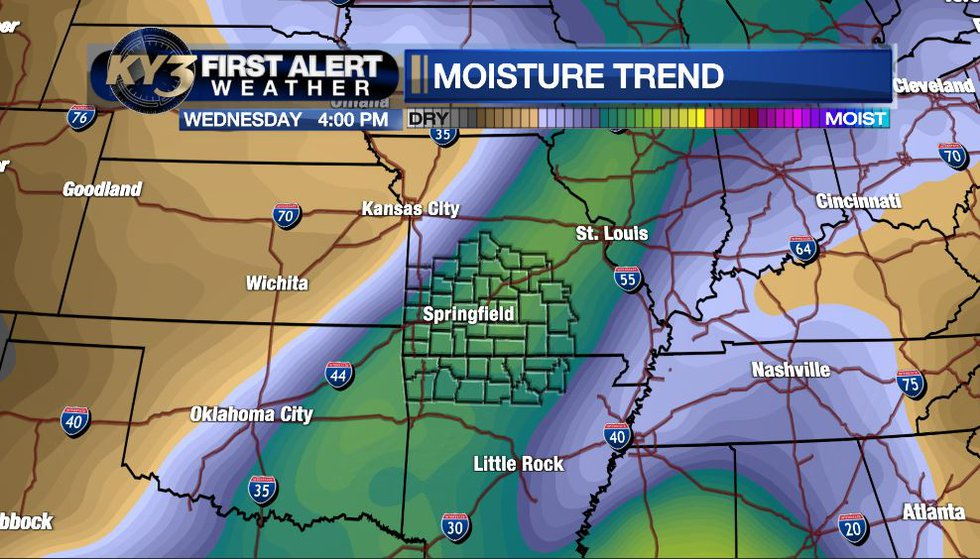 Limited moisture will move into the area today, bringing a few spotty rain showers.