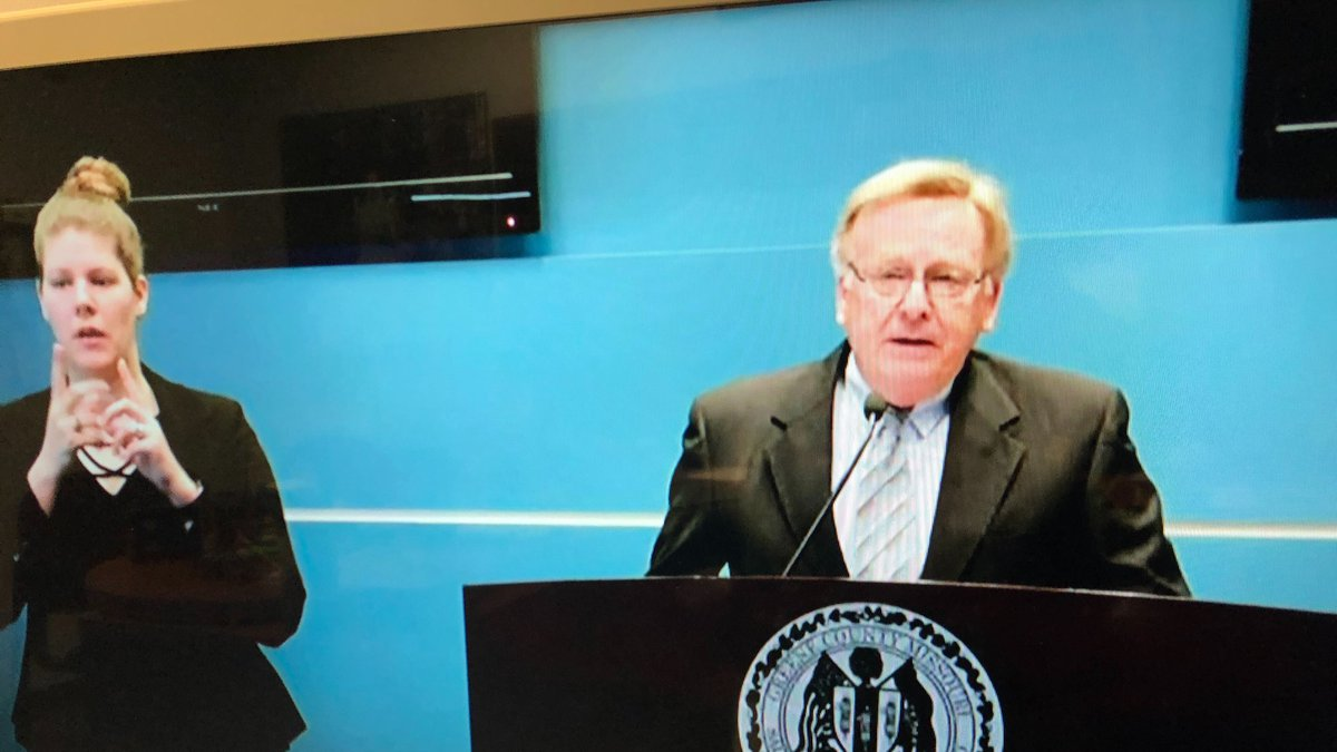 Springfield Mayor Ken McClure announces some loosened restrictions during a news conference in...