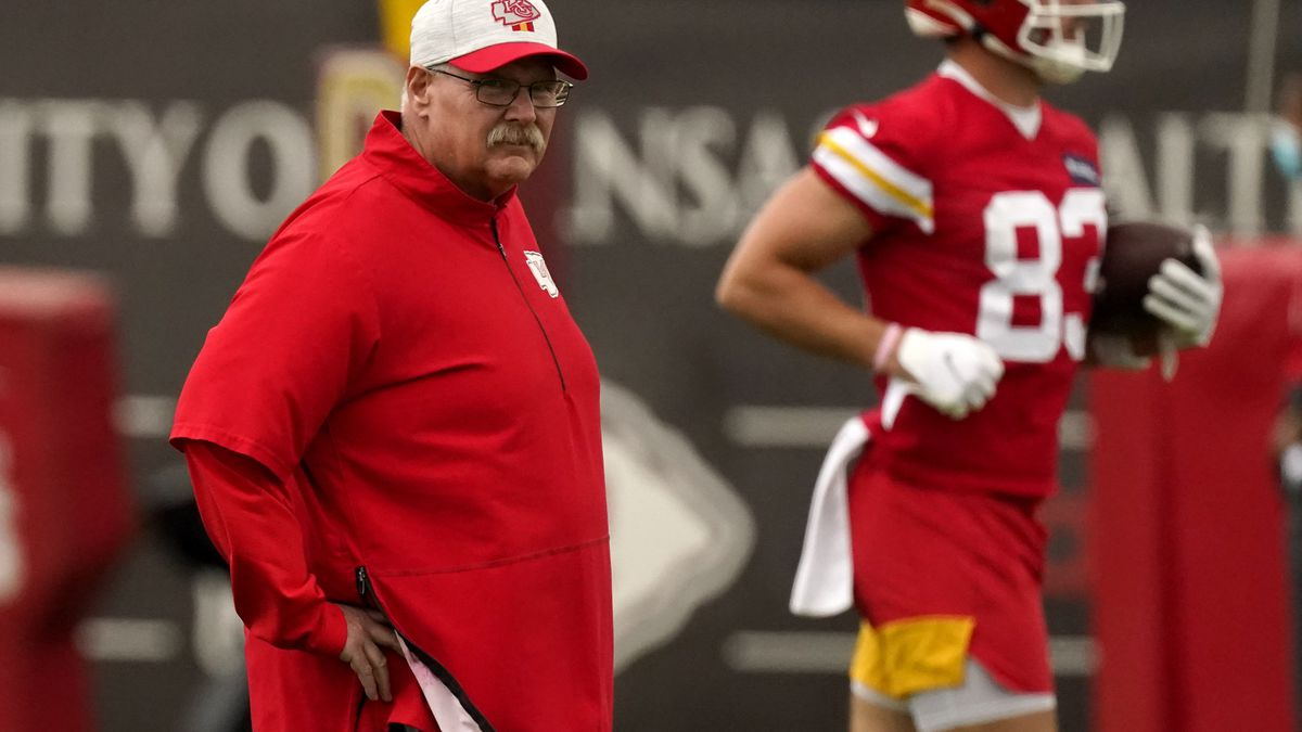 Kansas City Chiefs head coach Andy Reid watches practice during the NFL football team's...