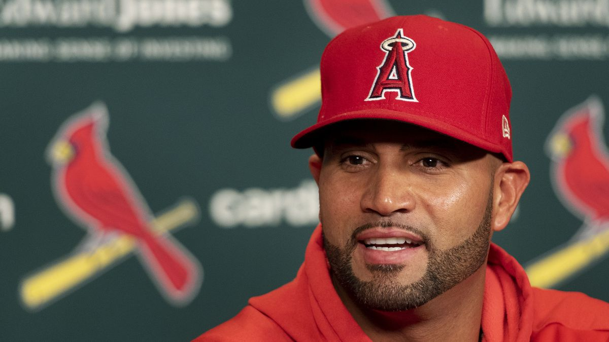 Los Angeles Angels' Albert Pujols talks to reporters during a press conference before a...