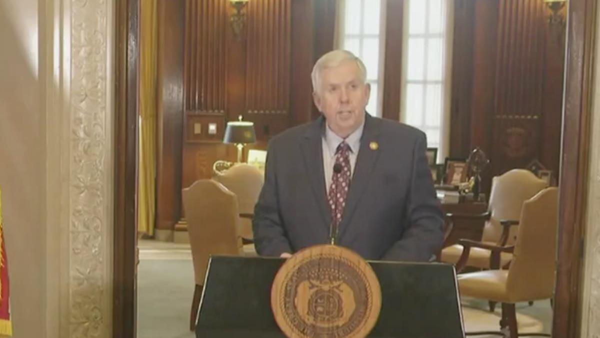 Missouri Gov. Mike Parson addresses the media Thursday.