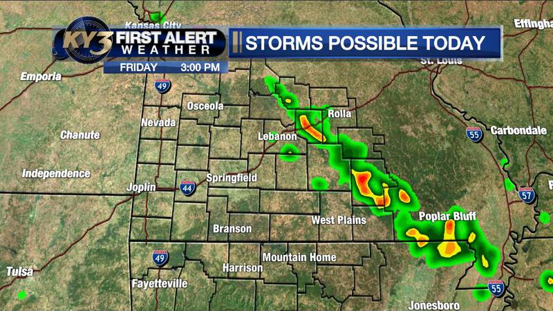 Parts of the eastern and central Ozarks could see scattered storms along a weak front this...