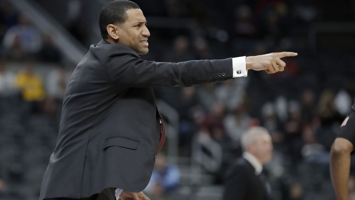 Missouri State head coach Dana Ford is seen on the sidelines during the first half of an NCAA...