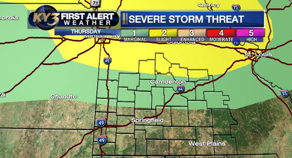 Showers and thunderstorms Thursday morning