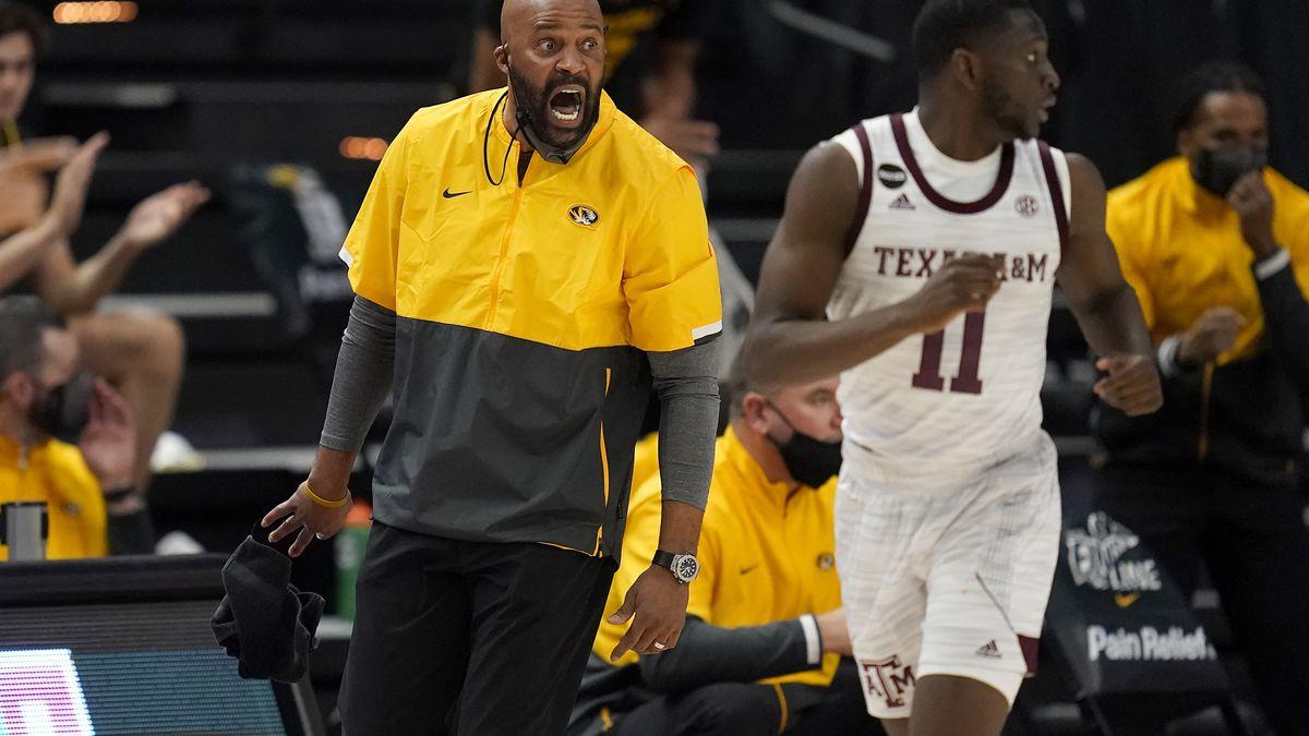 Missouri head coach Cuonzo Martin reacts as his team comes down court against Texas A&M during...