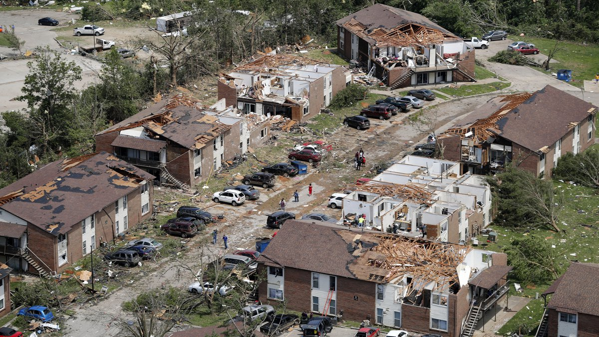 In this aerial photograph, tornado damage is seen Thursday, May 23, 2019, in Jefferson City,...