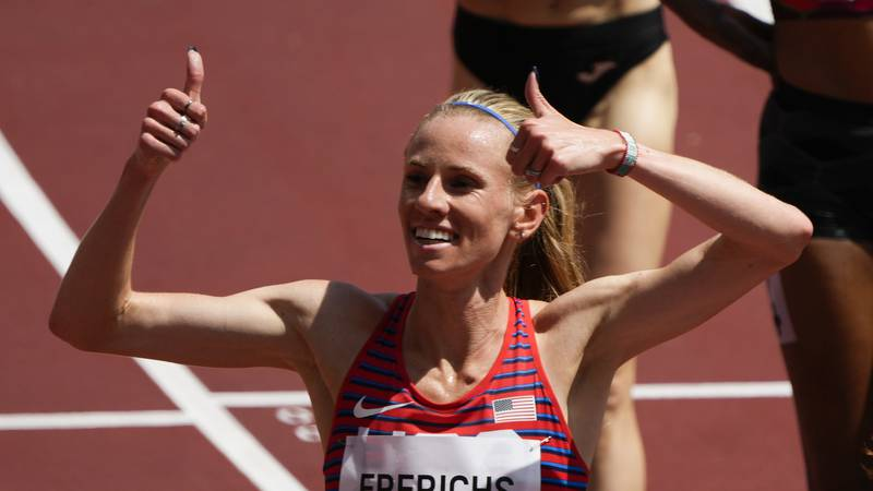 Courtney Frerichs, of United States, wins a heat of the women's 3,000-meter steeplechase at the...