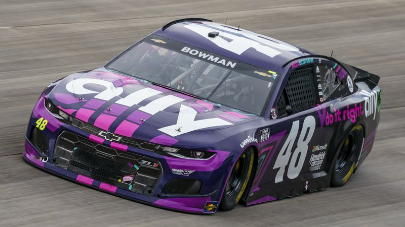 Alex Bowman races during a NASCAR Cup Series auto race at Dover International Speedway, Sunday,...