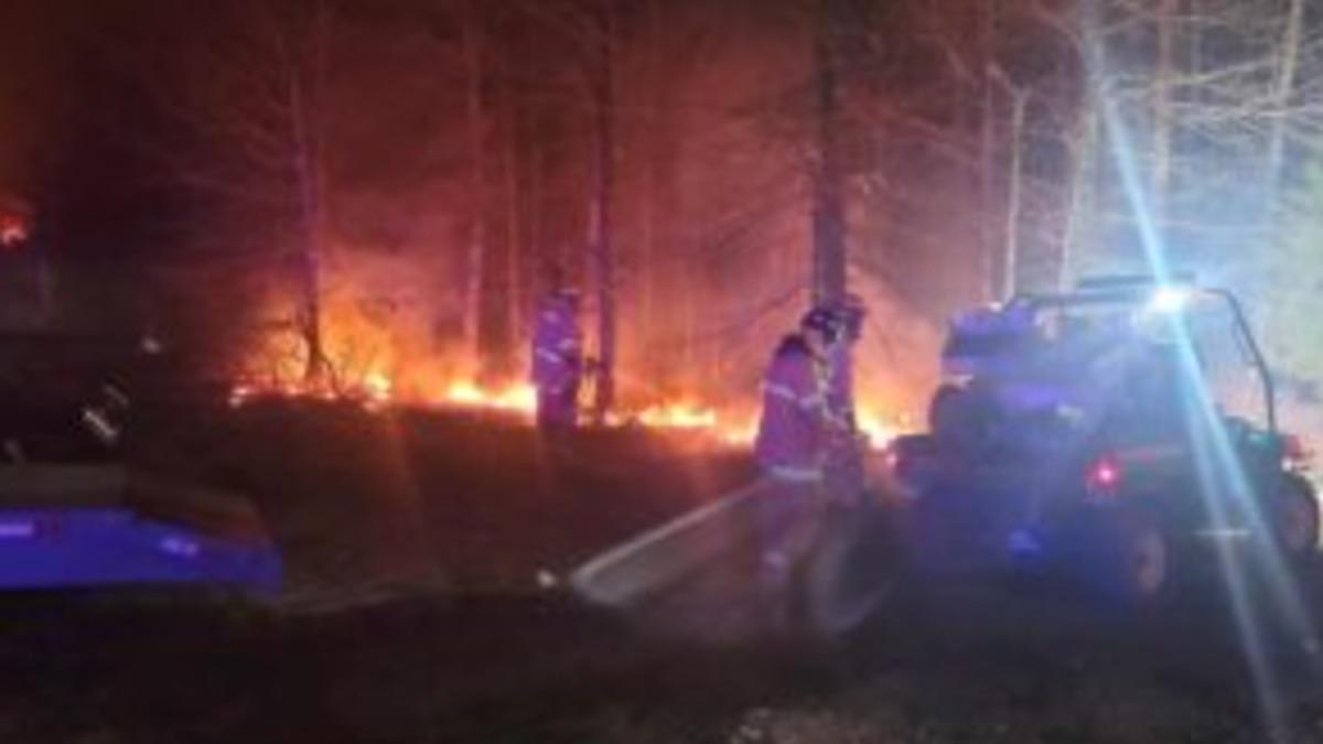 Fort Leonard Wood firefighters conduct a back-burn procedure March 31 near Range 19. According...