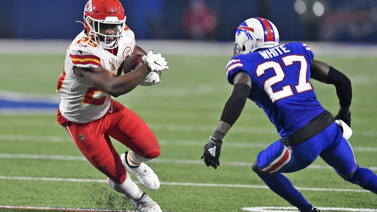 FILE - In this Monday, Oct. 19, 2020, file photo, Kansas City Chiefs running back Clyde...